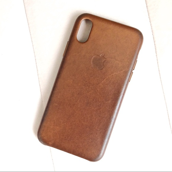 sale retailer d90aa be744 Apple iPhone X Leather Case in Saddle Brown